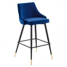 Blue Back Button Tufted Velvet Black Leg Counter or Bar Stool Extra Tall Bar Stools, Outdoor Bar Stools, Modern Counter Stools, Industrial Bar Stools, Leather Bar Stools, Wood Bar Stools, Colored Bar Stools, Velvet Stool, Velvet Furniture