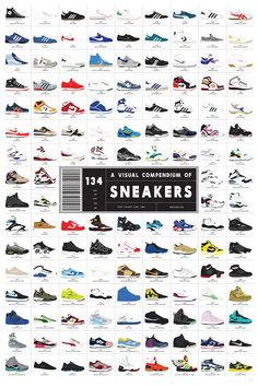 """Sneakers Art Print By Pop Chart Lab ~ """"This is an excellent gift for anyone who likes their trainers. It's a superbly illustrated art print of the 134 greatest sneakers (that's trainers to us or 'wearable expressions of personality' if you're a kid!). Starting with the Chuck Taylor way back in 1917, progressing through the styling low-tops of the 60s and 70s, delving deep into the great sneaker explosion of the 1980s, and carrying through the instant classics of the modern day."""""""