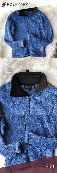 Mountain Hardwear Poodle Monkey Full Zip Jacket Mountain Hard Wear Blue Poodle Monkey Full Zip Women's Jacket, Size Medium   100% Polyester Great condition! No rips, stains or tears.  Actual Measurements: Bust- 20 inches from seam to seam Length- 25 inches Mountain Hardwear Jackets & Coats