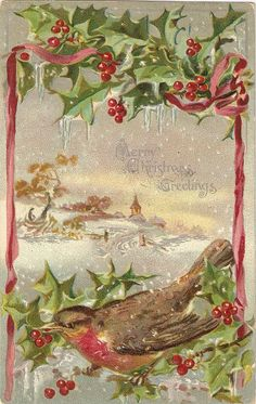Vintage  Christmas Greetings Postcard Bird by sharonfostervintage, $2.50