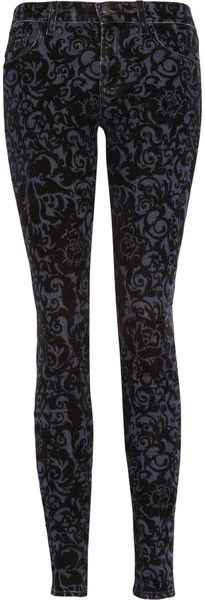 J Brand Flocked Lowrise Skinny Jeans- Adore these!