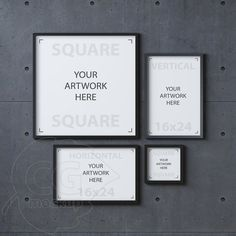 Set mockup, Black frame mockup, Digital product mock up, Concrete background, Instant download, Styled stock photography, Wall art mockup