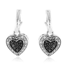 Black & White Diamond Heart Dangle Earrings