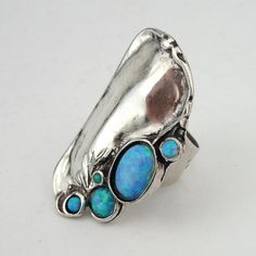 Opal Silver Ring Stunning Handcrafted 925 Sterling by hadarjewelry