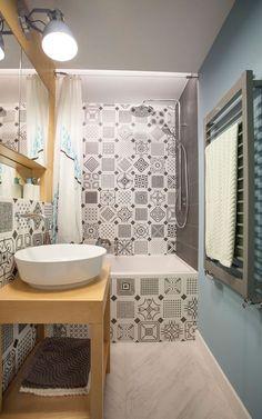 Scandinavian apartment in Mokotów - BOHO Studio | Octogono Variette Sombra | Madera porcelánica Efeso | Vives Ceramica