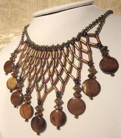 Bronze Necklace: Apollonia - Metallic Bronze Netted Bugle Beads and Seed Beads with Mother-of-Pearl Discs ETSY/$44