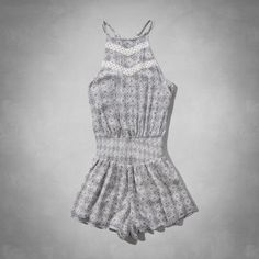 Womens Embroidered Peasant Romper   Supersoft and pretty romper with a cinched drop waist, high neckline and embroidered detailing   Abercrombie.com