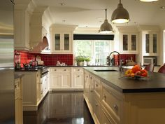 Galley Kitchen White Cabinets Soapstone Red Walls Google Search