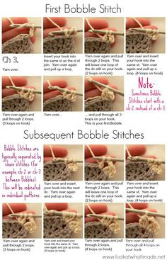 Bobble Stitch Photo Tutorial  This tutorial is specifically written for making bobble stitches in rounds. The principle remains the same when working in rows, though. You just won't be making your first stitch into a sl st join, but rather into the first st of the row.