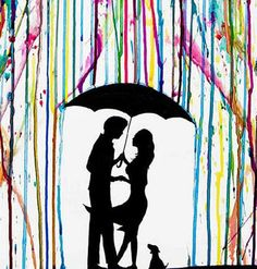art couple silhouette with dog umbrella rain melting wax rainbow