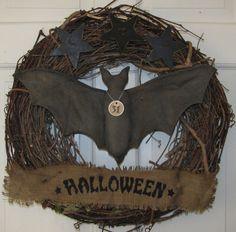 Prim Halloween Bat Grapevine Wreath with Burlap Banner     Ready to Ship