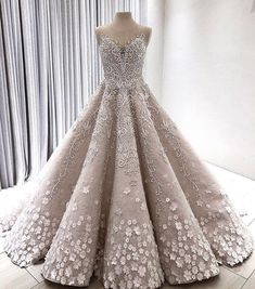 Princess wedding ballgown with illusion neckline, embroidery detail and floral applique by Filipino designer Mak Tumang Ball Gowns Prom, Ball Dresses, Prom Dresses, Formal Dresses, Debut Gowns, Debut Dresses, Dream Wedding Dresses, Designer Wedding Dresses, Wedding Gowns