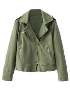 Army Green Lapel Long Sleeve Biker Jacket
