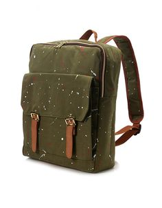 Square painted Backpack Khaki van BagDoRi op Etsy