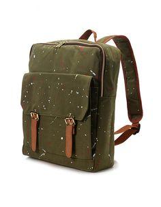 Square painted Backpack Khaki van BagDoRi op Etsy