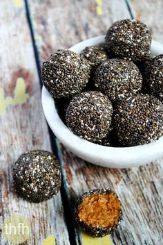 Clean Eating Raw Chia Seed Nut Butter Balls...made with only 6 real food ingredients and they're raw, vegan, gluten-free, dairy-free, paleo-friendly and contain no refined sugar | The Healthy Family and Home