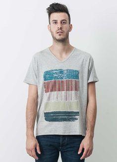 V-Neck T-Shirt mit Druck für Herren