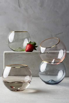 Put store on registry! Gilded Rim Stemless Glass - anthropologie.com