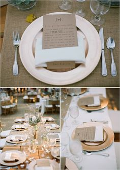 Bronze place settings with kraft paper thank you stationery. #weddingreception #tabledecor #weddingchicks Event Design: Greg Rutherig ---> http://www.weddingchicks.com/2014/05/06/pot-your-own-succulent-centerpieces/