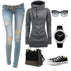 I would rock the shoes, handbag jeans and hoodie. Converse Style, Outfits With Converse, Casual Outfits, Cute Outfits, Casual Wear, Fall Outfits, White Converse, Amazing Outfits, Converse Shoes