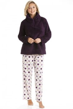 418a5cd9 Camille Burgundy Supersoft Fleece Top And Polka Dot Bottoms Pyjama Set