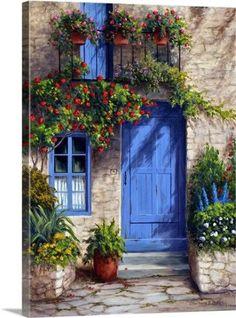 Barbara Felisky Solid-Faced Canvas Print Wall Art Print entitled Provence Blue Door - Barbara Felisky Premium Thick-Wrap Canvas Wall Art Print entitled Provence Blue Door, None Old Doors, Windows And Doors, Store Front Windows, Provence, Front Door Colors, Painted Doors, Door Design, Belle Photo, Canvas Wall Art