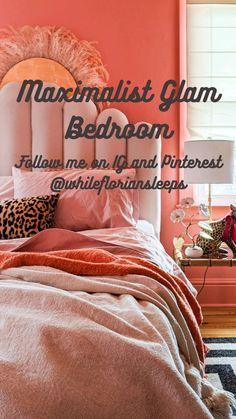 Peach Bedroom, Glam Bedroom, Bedroom Vintage, Bedroom Inspo, Home Bedroom, Bedroom Apartment, Bedrooms, Eclectic Design, Eclectic Decor