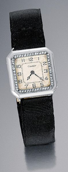 LADY'S DIAMOND AND PLATINUM WRISTWATCH, CARTIER, CIRCA 1930  square, decorated with a border of rose-cut diamonds, guilloche dial, the index painted Arabic numerals, the blued steel hands, the platinum case, black bracelet wholesale grain, gold clasp decorated with a rectangular pattern adorned with rose-cut diamonds.