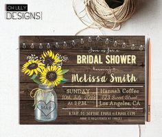 Sunflower Bridal Shower Invitation, Mason Jar Bridal Shower Invite, Rustic Bridal Shower, Country Bridal Shower Invitation, Printable
