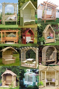 Build your own garden arbor bench from these 45 DIY Kits or use design ideas as inspiration. Pergola style, corner, lattice & under seat storage designs. Diy Pergola, Pergola Canopy, Pergola With Roof, Outdoor Pergola, Pergola Kits, Modern Pergola, Metal Pergola, Pergola Lighting, Cheap Pergola