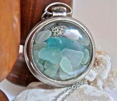 Aqua Blue Sea Glass & Seashell Antique Pocket Watch Necklace