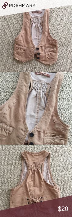 Small tan vest Reduced!!!   Small vest worn a few times but still in great condition. Great layering piece to any outfit. No trades. Bundle and save! undefined Jackets & Coats Vests
