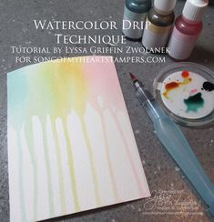 Photo Tutorial: Easy Watercolor Drip Technique - Song of My Heart Stampers Watercolor Tips, Watercolour Tutorials, Watercolor Techniques, Watercolor Cards, Watercolor Background, Watercolour Illustration, Painting Techniques, Watercolour Painting, Drip Art