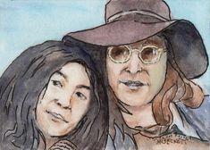 ACEO TW FEB Original Painting John Lennon & Yoko Ono musicians Beatles sixties #Impressionism John Lennon Yoko Ono, Famous Couples, Original Paintings, Art Paintings, Artist Trading Cards, The Beatles, Atc, The Originals, Impressionism