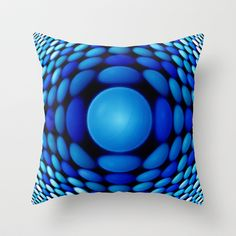 Retro Blue Throw Pillow by DagmarMarina - $20.00