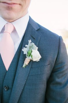 charcoal and pale pink groom look #groom #groomlook #weddingchicks http://www.weddingchicks.com/2014/01/31/vintage-barn-wedding-2/
