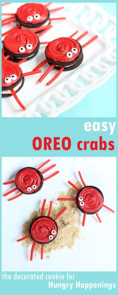 Crabs Kids will have so much fun making these easy Oreo Crabs. The cute food crafts are perfect treats for a summer party.Kids will have so much fun making these easy Oreo Crabs. The cute food crafts are perfect treats for a summer party. Kids Food Crafts, Edible Crafts, Edible Food, Preschool Crafts, Kinder Party Snacks, Snacks Für Party, Summer Food Kids, Summer Crafts For Kids, Ocean Food