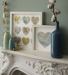 Framed Map Hearts-frame cities where special moments or events occurred :)