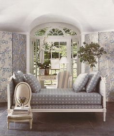 Love the recessed windows, desk and chair, silver and blue screen and the gorgeous day bed. It's all beautiful.