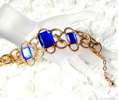 Купить Браслет Тройная корона,Nolan Miller,США,синие кристаллы,не ношенный в интернет магазине на Ярмарке Мастеров