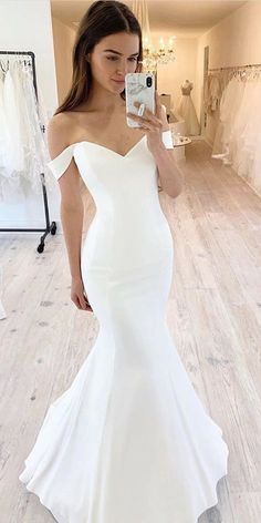 Simple Wedding Dress, Mermaid Wedding Dress, Off Shoulder Wedding Dress sold by . Simple Wedding Dress, Mermaid Wedding Dress, Off Shoulder Wedding Dress sold by joepaldress on Storenvy Top Wedding Dresses, Fit And Flare Wedding Dress, Cute Wedding Dress, Wedding Dress Trends, Bridal Dresses, Wedding Bride, Wedding Ideas, Wedding Hacks, Bridesmaid Dresses