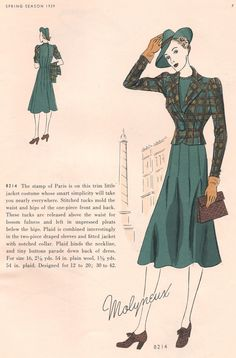 Butterick pattern 8214, featured in Butterick Fashion Magazine, Spring, 1939.