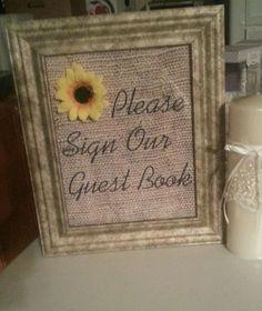 wedding decorations with sunflowers and burlap | Burlap Wedding Vintage Sunflower Decor Sign Our Guestbook | eBay