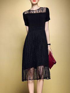 #AdoreWe StyleWe Midi Dresses - LONYUASH A-line Crew Neck Ribbed Short Sleeve Casual Midi Dress - AdoreWe.com