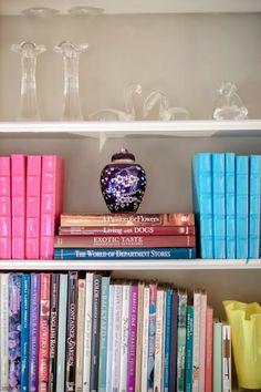 Organized bookshelves.