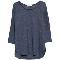 Mango Dolman Sleeve T-Shirt , Dark Blue ($23) ❤ liked on Polyvore featuring tops, t-shirts, shirts, blusas, dark blue, scoop neck t shirt, 3/4 sleeve shirts, oversized t shirt, curved hem t shirt and t shirts