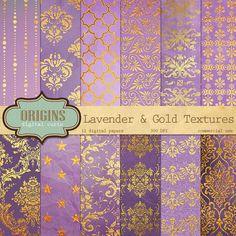 Lavender and Gold Textures  12 Pack Premium by OriginsDigitalCurio