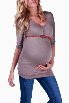 663fb0d182 Mocha Belted 3 4 Sleeve Maternity Top Inexpensive Maternity Clothes