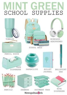 school supplies 15 Cute Mint Green School Supplies (You Will Fall in Love With) Dedicated to mint green lover. Discover school supplies in mint green. Middle School Supplies, Middle School Hacks, School Supplies Highschool, School Kit, College Supplies, Back To School Stuff, Decorate School Supplies, School Bags, School Supplies 7th Grade