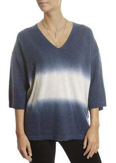'Amber' Dip-Dye Cashmere French Navy and Limestone Sweater Fiery Red, Dip Dye, Sweater Weather, Amber, Shop Now, Cashmere, Pullover, French, Navy